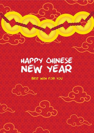 oriental background: Chinese New Year card celebration golden coin card