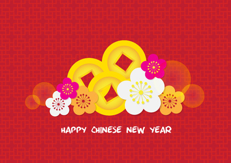 Chinese New Year decoration card background vector Illustration