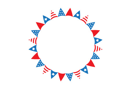 triangle flag: America triangle flag circle frame on white background vector