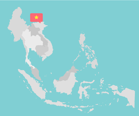Asian map with point flags flat design vector