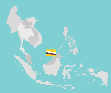 aec: Asian map with point flags flat design vector