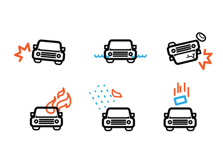 car wreck: car accident insurance pictogram line icon vector