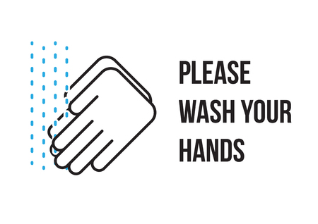 please wash your hands label: Please wash your hands sign icon banner vector Illustration