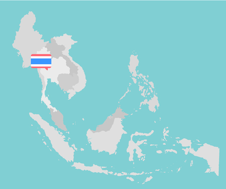 economic: Asian map with point flags flat design vector