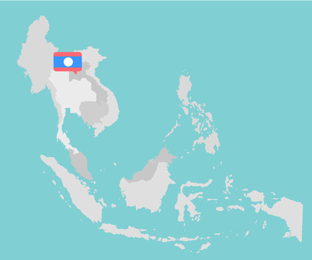 myanmar: Asian map with point flags flat design vector