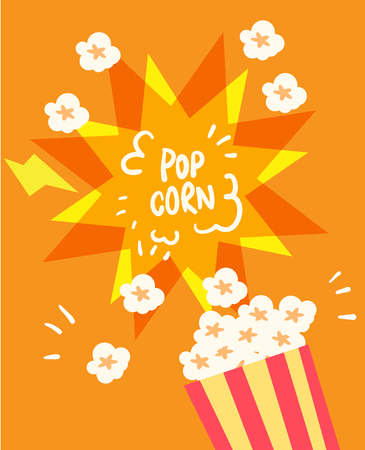eating popcorn: flat popcorn vector