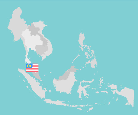indonesia: Asian map with point flags flat design vector
