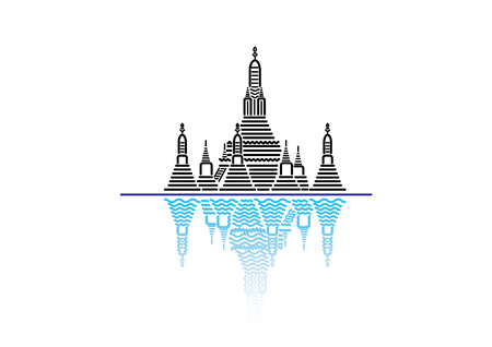 the temple: Wat Arun; famous iconic landmark temple in Bangkok, Thailand. flat line icon style vector