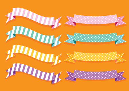 illustration collection: colorful ribbon banner label illustration vector collection set Illustration
