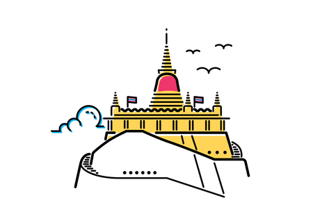 wat: Wat Saketthe Golden mount; famous iconic landmark temple in Bangkok, Thailand. flat line icon style vector