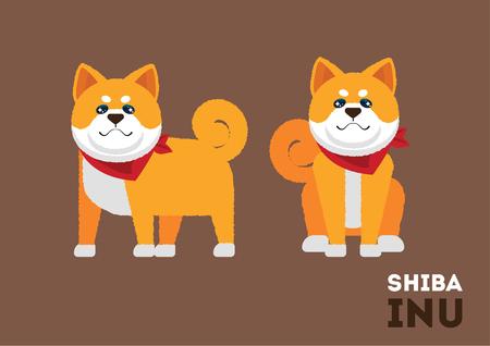 Cute Shiba inu dog puppy illustration character design
