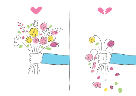hand giving a bouquet of flower heart and heartbroken drawing illustration vector background Illustration