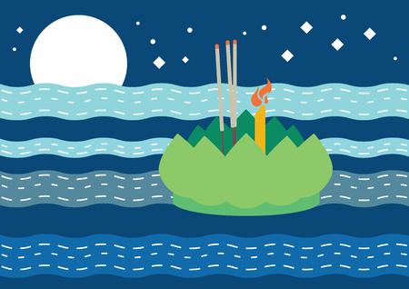 Loy Krathong, festival traditionnel de la pleine lune thaïlandaise, vecteur de fond illustration Vecteurs