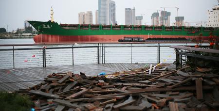 landscape riverside: abandoned deck at Xuhui Binjiang, shanghai Editorial
