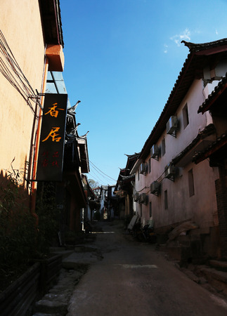 back alley: The view of a back alley in Lijiang town Editorial