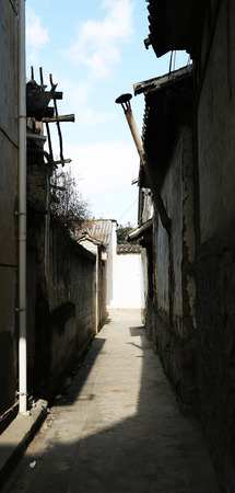 back alley: Back alley view of a town in China