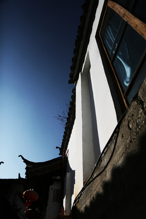 alley: small window at Lijiang alley Stock Photo