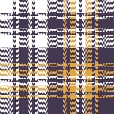 Seamless check plaid pattern. Autumn and winter herringbone tartan plaid background in purple, yellow, and white for scarf, blanket, throw, duvet cover, or other modern textile print.