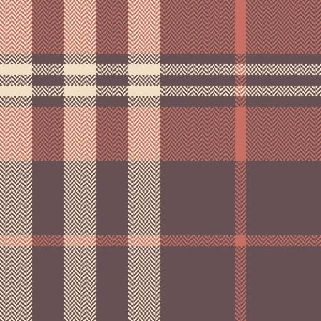Plaid pattern seamless vector background in taupe, coral, and beige. Herringbone pixel tartan check plaid for scarf, flannel shirt, blanket, or other autumn winter fashion textile design.