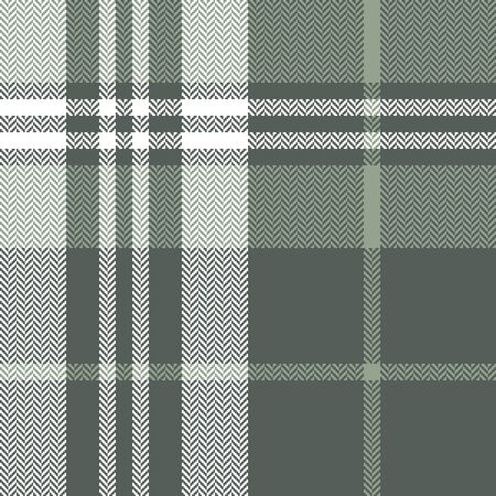 Plaid pattern seamless vector texture. Herringbone tartan check plaid background in green and white for flannel shirt, blanket, throw, duvet cover, or other modern textile design.