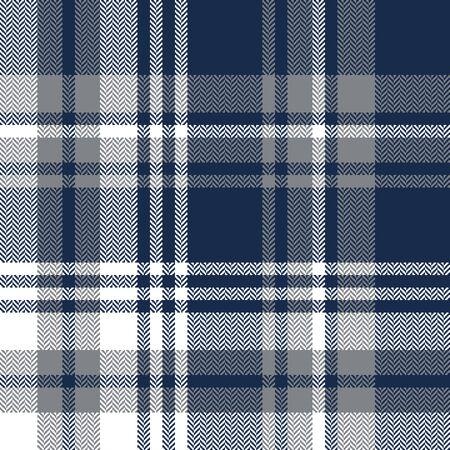 Impression de fond à carreaux tartan. Graphique à carreaux à chevrons sans couture en bleu foncé, gris et blanc pour écharpe, chemise en flanelle, couverture, jeté ou autre design de tissu de mode moderne.