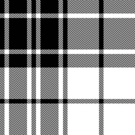 Seamless plaid pattern. Herringbone texture tartan check plaid graphic in black and white for flannel shirt, blanket, throw, duvet cover, or other modern autumn winter fabric design.
