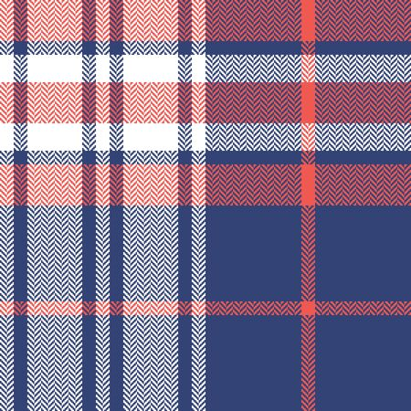 Tartan plaid pattern background. Seamless herringbone check plaid graphic in blue, coral pink, and white for flannel shirt, blanket, throw, duvet cover, or other autumn winter fabric design. 向量圖像