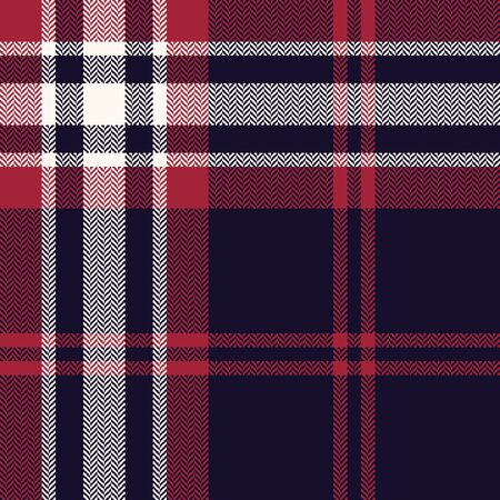 Tartan plaid pattern. Seamless herringbone dark check plaid in dark blue, red, and off white for scarf, flannel shirt, blanket, throw, duvet cover, or other modern winter fabric design.