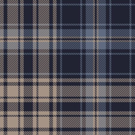 Plaid pattern seamless vector background in blue and brown. Dark check plaid for flannel shirt, blanket, duvet cover, or other autumn winter fashion textile design.