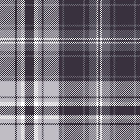 Plaid pattern seamless vector background in dark grey and white. Check plaid graphic for flannel shirt, blanket, duvet cover, or other autumn winter fashion textile design.