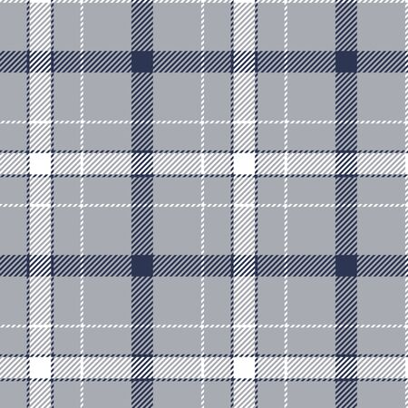 Grey blue white check plaid seamless pattern