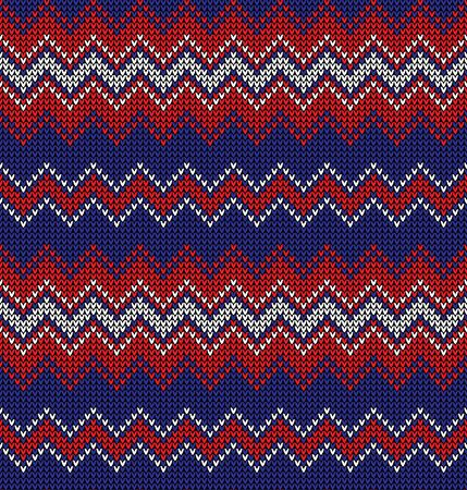 Knitted chevron pattern. Seamless knit zigzag horizontal stripes in blue, red, and white for Christmas and New Year jumper, sweater, socks, wrapping paper, or other modern textile print.