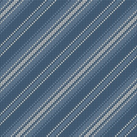 Knitted stripes pattern. Seamless diagonal lines knit texture in grey blue and white for modern Christmas and New Year jumper, socks, wrapping paper, or other modern winter fabric print.