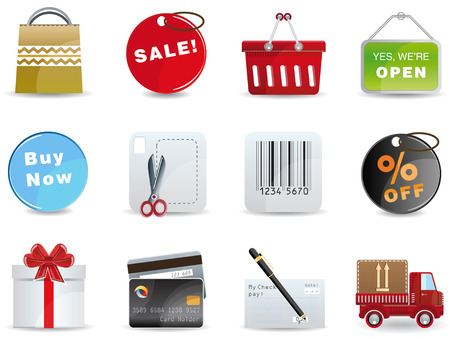 Shopping icon set Stock Vector - 4408286