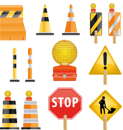 Construction icon set of road Barrier and light Vector
