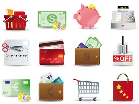 Compras y consumismo iconos conjunto
