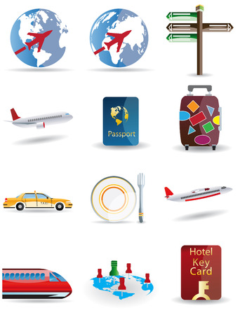 Travel and globe icons Illustration