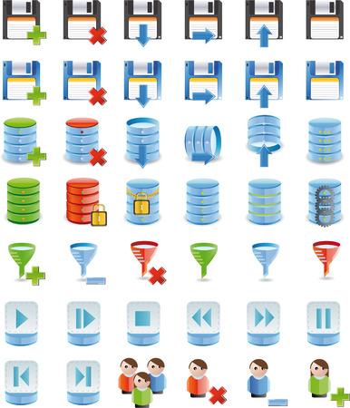 backwards: Database details pictogram set van 42 pictogram `s volledig aangepaste