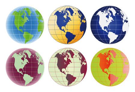 Globe North America and Latin America set of 6 color options