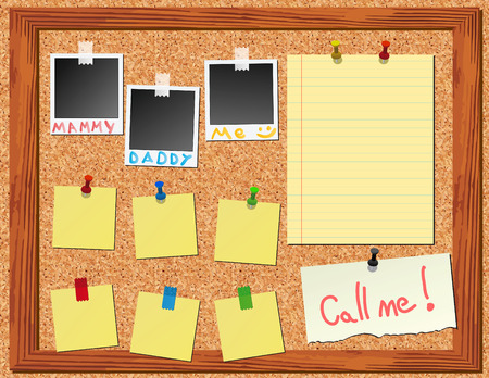 corkboard with stickers photos