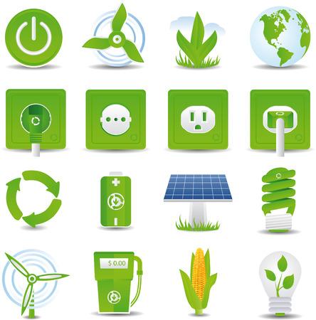 ahorro energia: Energ�a verde icono conjunto detallado de alta Vectores