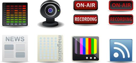 eq: Medios de publicaci�n en Web iconos conjunto Vectores