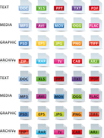png: text media graphic and archive icon, set of 2 color