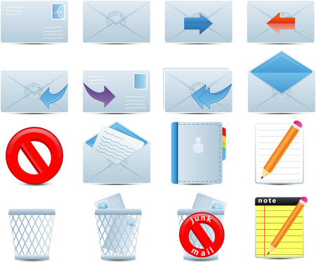 Email set of 16 icons Illustration