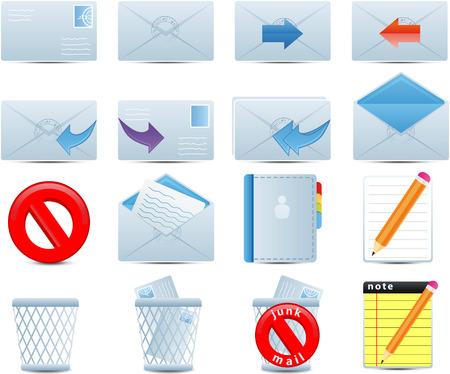 Email set of 16 icons Illustration