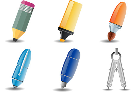 Writing and Drawing set of 6 icon Vector