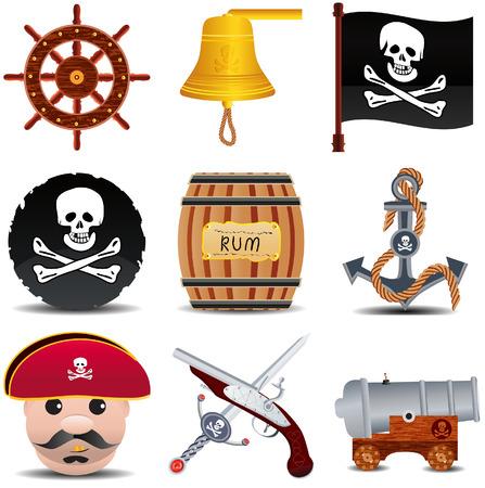 drapeau pirate: icon patrate ensemble de 9 points la s�rie 1