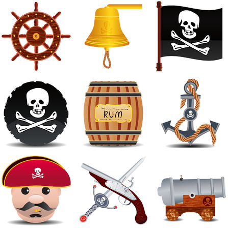 jolly roger pirate flag: patrate icon set of 9 items set 1 Illustration