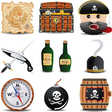 patrate icon set of 9 items set 3 Illustration