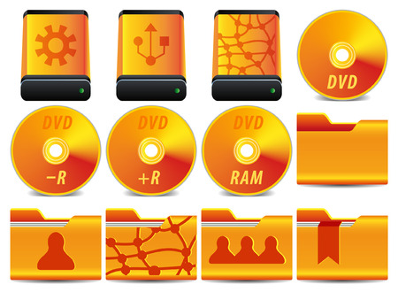 gold icon for operation system set 2 of 4 Stock Vector - 5302169